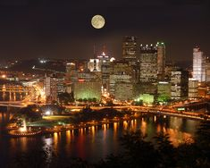 Pittsburgh's skyline as viewed from Mount Washington. I love this city! Moon over Pittsburgh! Pittsburgh Skyline, Pittsburgh Pa, Mount Washington Pittsburgh, Pennsylvania Pittsburgh, Tour Eiffel, Night City, City Lights, Night Lights, Oh The Places You'll Go