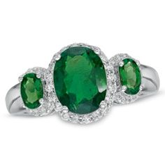 Oval Lab-Created Emerald and White Sapphire Three Stone Ring in Sterling Silver - Zales