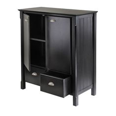 Winsome Timber Black Wood Home Office Storage Cabinet With Drawers