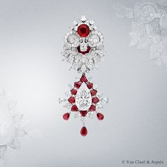 The detachable clip of the Oriental Princess necklace, set in diamonds and rubies.  White gold, round, pear-shaped and baguette-cut diamonds, buff -top baguette-cut, pear-shaped and cushion-cut rubies (origin: Mozambique) and one pear-shaped D FL type 2A diamond of 8.07 carats.