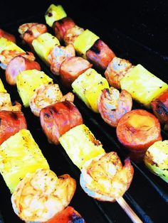 Shrimp Sausage and Pineapple Kabobs - Cooks Well With Others Kabob Recipes, Shrimp Recipes, Grilling Recipes, Old Bay Shrimp, Pineapple Kabobs, Sausage Kabobs, Food Combining, Fish And Seafood, Summer Recipes