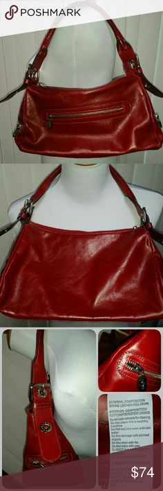 PRUNE leather bag Rich red leather shoulder bag with zipper closure. Silver toned hardware. Small zip pockets one each end and zip outer pouch. Adjustable strap. Color is a little darker, deeper red than pictures show. In excellent condition. Prune Bags