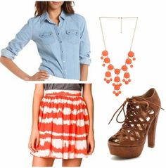 Printed skirt, chambray top, booties spring outfit