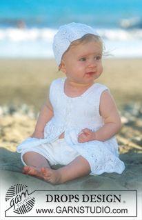 "Beach Baby - Vestido DROPS sin mangas y gorro en ""Safran"" - Free pattern by DROPS Design"