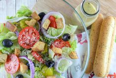 Olive Garden has the best house salad - with all my favorite toppings like olives and tomatoes and topped with that delicious Italian dressing and I have the recipe! Olives, Olive Garden Salad, Recipe Generator, House Salad, Fried Cabbage, Olive Gardens, Italian Dressing, Pasta, Fried Fish