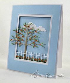 I have a fun and simple card to share with you today. I have fallen so in love with the Memory Box and Poppy Stamps dies. I just had to have the Twiggy Tree and Leaf Canopy. Memory Box Cards, Window Cards, Fall Cards, Christmas Cards, Beautiful Handmade Cards, Marianne Design, Scrapbook Cards, Scrapbooking, Paper Cards