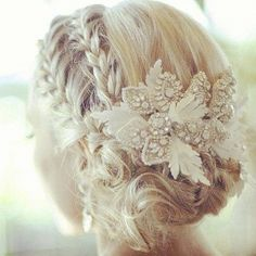Double lace braid to bun with elaborate hair clips.