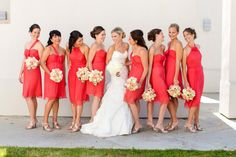 Bridesmaids in coral dresses by Amsale  Photography by katelynjames.com, Floral   Event Design by edlibby.com