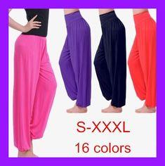 Cotton High Waist Stretch Women Harem Pants S port Pants Flare Pant Dance Club Boho Wide Leg Loose Long Trousers Bloomers Pants