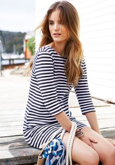 #hush-uk: Adding a little bit of frensh flair with nautical stripes in the Catherine Dress.
