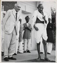 From the Untold Lives blog post 'Political #Propaganda and the Quit India Movement'. Image: Gandhi standing beside Lord Pethick-Lawrence, Secretary of State for India, 1946.