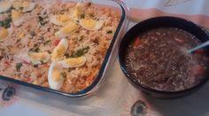 Findi pé na jaca: arroz de forno com frango e queijos + lentilha.