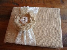 Rustic Burlap Lace and Pearl Wedding Guest Book