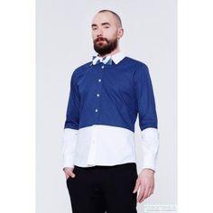 BLUE EYE POP - niebiesko biała koszula męska