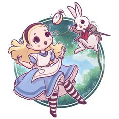 lice falling down the rabbit hole ✨❤️✨ I'm going to work on a little Alice inspired series Have you read the book? I love both stories, - Disney Kunst, Arte Disney, Disney Art, Kawaii Disney, Cute Kawaii Drawings, Cute Animal Drawings, Harry Potter Disney, Kawaii Chibi, Kawaii Anime