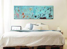 Landscape Abstract painting  POP ART Turquoise door RonaldHunter, $399.00