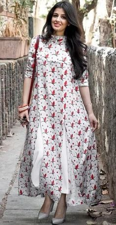 Cotton maxi dress - White Printed High Neck Long Kurti with Front Slits Pakistani Dresses, Indian Dresses, Indian Outfits, Western Dresses, Indian Attire, Indian Wear, Ethnic Fashion, Indian Fashion, A Boutique