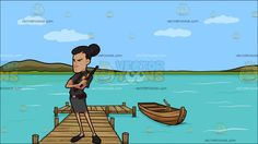 An Angry Lady Guard At A Long Wooden Dock On A Lake :   A woman with ponytailed black hair wearing a gray security guard skirt uniform necktie and black shoes crosses her arms on her chest right hand holding a black baton as eyes furrow in suspicion and doubt. Set in a wooden lake dock with a boat beside it during a sunny day calm blue green water and a green island surround the environment.