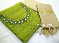 Chudidhar Neck Designs, Churidhar Designs, Salwar Neck Designs, Dress Neck Designs, Kurta Designs, Zardozi Embroidery, Kurti Embroidery Design, Embroidery Patterns, Mirror Work Saree Blouse