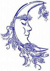 Sleeping moon machine embroidery design. Machine embroidery design. www.embroideres.com