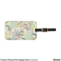 Passport Stamp Print Luggage Tag   Zazzle.com