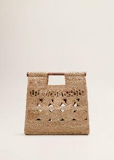 Jute handtas REF. Jute Handbags, Fabric Handbags, Fabric Purses, Purses And Handbags, Mango Bags, Handbags For School, Mango Outlet, Mango France, Diy Purse