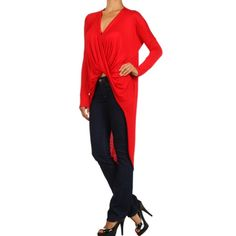 """""""Scarlet"""" Twist Front High Low Top Cross front high low top! The perfect piece for fall and winter. Edgy meets casual! Brand new without tags. Bare Anthology Tops"""