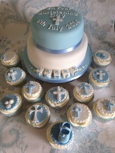 Christening cake and matching cupcakes for my great-nephew