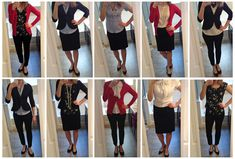 How to pack for a two week (10 work days) business trip and never wear the same outfit twice. Here's the packing list: 1 skirt, 1 pair dress pants, 1 pair flats, 1 pair heels, blazer, cardigan, 2 blouses, 2 button-downs, 2 necklaces, & 1 headband.