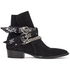Amiri Bandana Buckle Boots ($1,390) ❤ liked on Polyvore featuring men's fashion, men's shoes, men's boots, black, mens black leather shoes, mens black boots, mens leather boots, mens leather shoes and mens black leather boots