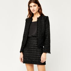 Warehouse, SPARKLE TWEED SKIRT Black 1