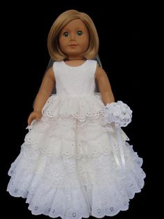 American Girl Doll Clothes Princess Wedding Gown by SewSoNancy