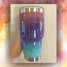 Four Color Ombre - STAINLESS STEEL MUG - glitter dipped or painted - coffee mug - tumblers