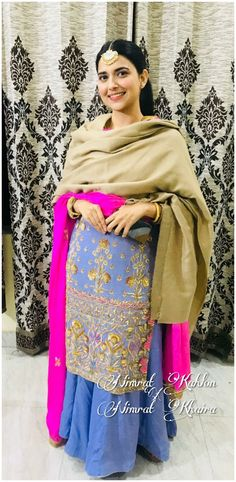 Punjabi Fashion, Indian Fashion Dresses, Dress Indian Style, Punjabi Suits Party Wear, Salwar Suits Pakistani, Punjabi Suits Designer Boutique, Indian Designer Suits, Nimrat Khaira Suits, Modern Suits