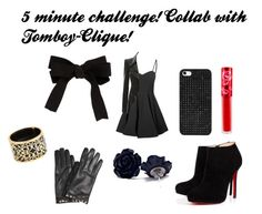 """""""5 Minute Challenge! Collab with Tomboy-Clique!"""" by dystopiandisease ❤ liked on Polyvore featuring Glamorous, BaubleBar, Miriam Salat, ASOS, Lime Crime, Valentino and Christian Louboutin"""