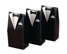 Dress up treats and mementos by placing them inside a formal tuxedo favor box. Tuxedo boxes feature stand-up collars and lapels. 25 per package. x 1 x Black Tuxedo Favor Boxes Wedding Favor Table, Diy Wedding Favors, Wedding Gifts, Wedding Tables, Handmade Wedding, Personalized Wedding, Wedding Things, Wedding Stuff, Formal Tuxedo
