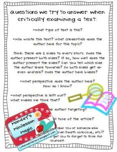 FREE handout for critical literacy; questions readers try to answer when examining a text (or video) critically; readers' workshop