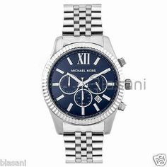78a98d0862bb Michael Kors Original MK8280 Men s Lexington Stainless Steel Silver Navy  Watch