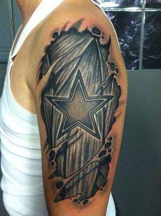 Dallas cowboys Tattoo star under skin At Dallas Tattoo Addison . Dallas Cowboys Tattoo, Dallas Tattoo, Football Tattoo, Dallas Cowboys Shirts, Dallas Cowboys Football, Tribal Forearm Tattoos, Badass Tattoos, Star Tattoos, Body Art Tattoos