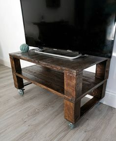 Elegant Reclaimed Timber Tv Stand/ Media Console TALL TELE ALUS In Dark Oak With  Rubber Wheels