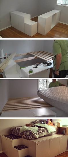 Watch this guy transform IKEA kitchen cabinets into a platfo.- Watch this guy transform IKEA kitchen cabinets into a platform bed with storage Watch this guy transform IKEA kitchen cabinets into a platform bed with storage - Platform Bed With Storage, Diy Platform Bed, Ikea Platform Bed Hack, Decor Room, Diy Home Decor, Diy Teen Room Decor, Diy Lit, Ikea Kitchen Cabinets, Diy Cabinets