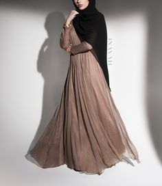 INAYAH | Limited Edition: This gown is crafted in premium pure silk fabric and is a remarkable showstopper - Mink Pure Silk #Full #Circle #Gown + Black #Maxi #Georgette #Hijab - www.inayah.co