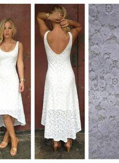 White Lace Sleeveless Hi Low Dress with V-Back,  Dress, lace dress  high-low  sleeveless, Bohemian (Boho) / Hippie