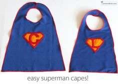 Superhero capes, complete with velcro at neck for safety.  Makes me want to make superhero bibs for the baby girl.  Wonder Woman FTW