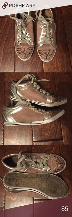 Gold sneakers Worn a couple times. Small signs of wear. Shoes Sneakers