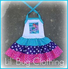 Custom Boutique Clothing Birthday  Disney Little Mermaid  Ariel Tiered Halter Dress Girls. $42.00, via Etsy.
