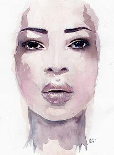 watercolor portrait by Hodaya Louis