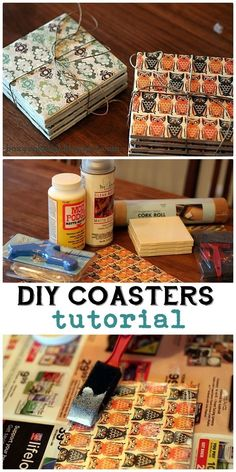 DIY Coasters for Christmas! - : DIY Coasters: Step-by-step Photo Tutorial: great homemade Christmas gifts Making coasters from inexpensive tile and scrapbook paper; How To Make Coasters, Diy Coasters, Making Coasters, Photo Tile Coasters, Homemade Coasters, Diy Decoupage Coasters, Coaster Crafts, Table Coasters, Ceramic Coasters