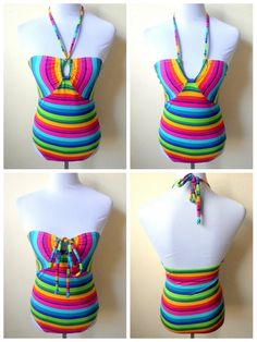 Summer / Beach Fashion: CJ Blue Heaven rainbow stripes bandeau one piece swimsuit  peek a boo style with removable and adjustable neck string with bust pads slot; bust pads not included  MEASUREMENTS: size: large bust: 28-36 inches waist: 26-34 inches hips: 28-34 inches