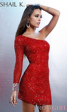 Short One Sleeve Sequin Dress at PromGirl.com